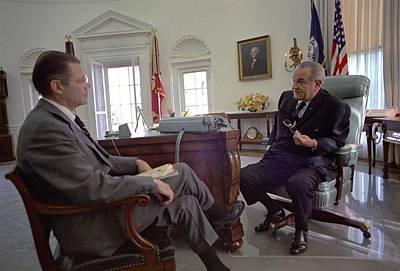 Lyndon Photograph - President Lyndon Johnson Meeting by Everett