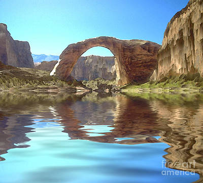 Southwest Landscape Digital Art - Rainbow Bridge by Jerry McElroy