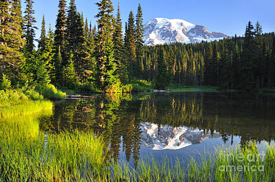 Photograph - #3 Reflection Lake Near Mt Rainier by Jack Moskovita