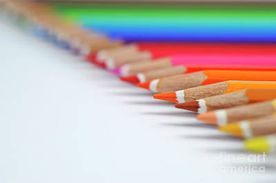 Photograph - Row Of Colorful Crayons by Sami Sarkis