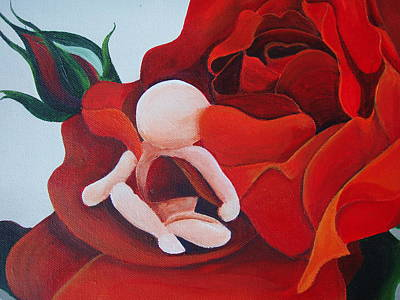 Featured Tapestry Designs - Baby In A Rose Detail by Catt Kyriacou
