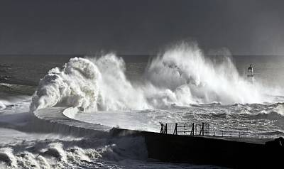 Photograph - Seaham, England Stormy Waves Pounding by John Short