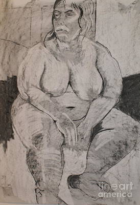 Drawing - Seated Female Nude by Joanne Claxton