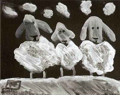 Shipping Mixed Media - 3 Sheep by Peter  McPartlin