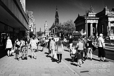Shoppers And Tourists On Princes Street Edinburgh Scotland Uk United Kingdom Art Print by Joe Fox