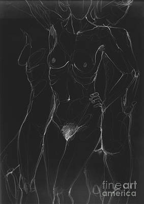 3 Sides Of A Woman In Night Art Print by Roswitha Schmuecker