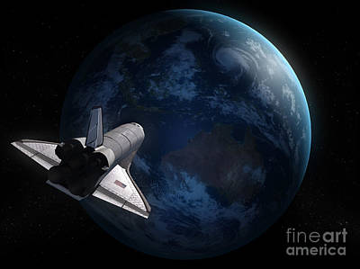 Challenger Digital Art - Space Shuttle Backdropped Against Earth by Carbon Lotus