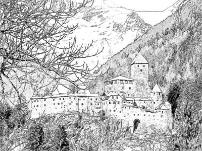 Snow-covered Landscape Drawing - Taufers Knights Castle Valle Aurina Italy by Joseph Hendrix