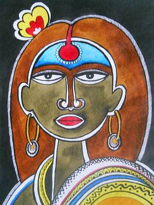 Indian Tribal Art Drawing - The Face by Paritosh Pal