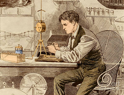 Tele Photograph - Thomas Edison  by Science Source