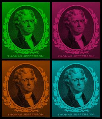 Thomas Jefferson In Quad Colors Art Print by Rob Hans