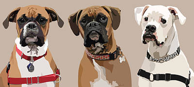 White Boxer Dog Digital Art - Three Boxers by Kris Hackleman