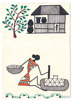 Indian Tribal Art Painting - Warli Painting by Sandhya  Pawar