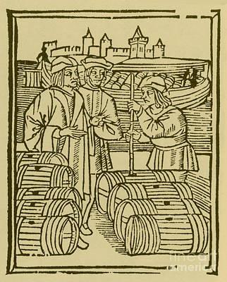 Wine Merchant, Medieval Tradesmen Art Print by Science Source