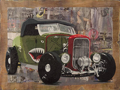 Hot Rod Mixed Media - 32 Ford Roadster Warhawk by Josh Bernstein