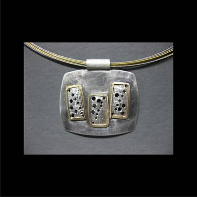 Jewelry - 351 Pendant Screen Work Three Rectangles by Brenda Berdnik