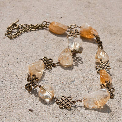 Celtic Knot Jewelry - 3591 Citrine Nugget And Antiqued Brass Necklace by Teresa Mucha