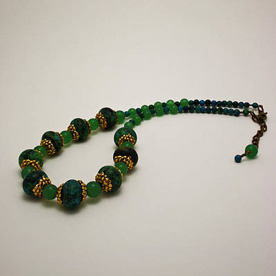 3616 Austrailian Jasper And Adventurine Necklace Original by Teresa Mucha