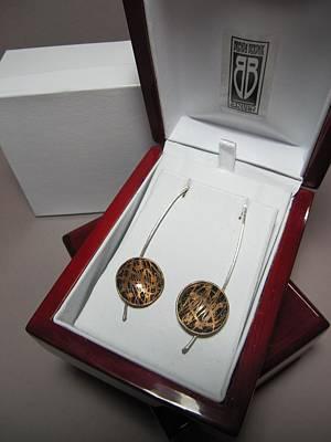 385 Brass Etching Sterling Silver Earrings Original