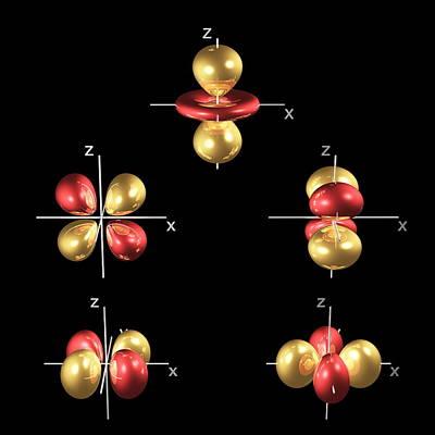 3d Electron Orbitals Art Print by Dr Mark J. Winter