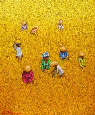 Rice Paddy Painting -  Harvest 14 by Sri Martha