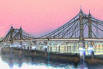 Albert Bridge London Art Print by David Pyatt
