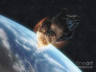 Destruction Digital Art - Asteroid In Front Of The Earth by Carbon Lotus