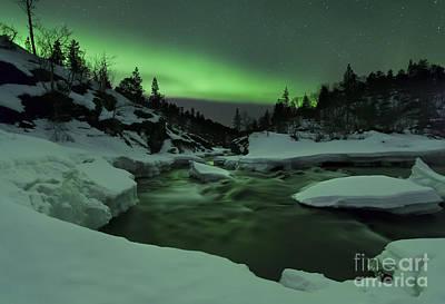 Aurora Borealis Over Tennevik River Art Print