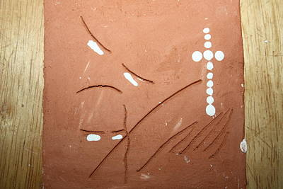 African Ceramicist Ceramic Art - Bless - Tile by Gloria Ssali