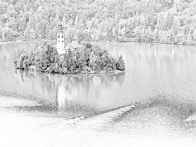 Bled Drawing - Church Of The Assumption Lake Bled Slovenia by Joseph Hendrix