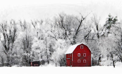 Red Barn In Winter Digital Art - Country Winter by Gina Signore