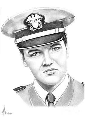 Famous People Drawing - Elvis Presley by Murphy Elliott