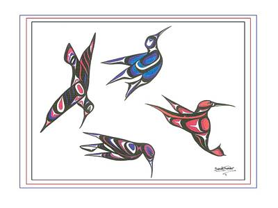 4 Hummingbirds Art Print by Speakthunder Berry
