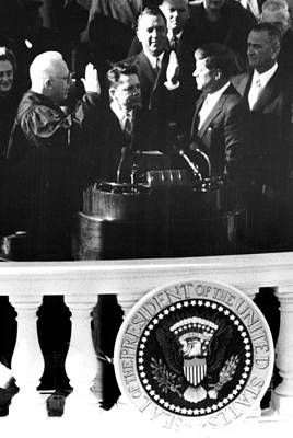 John F.kennedy, Being Sworn Art Print by Everett