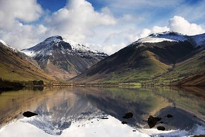 Mountains And Lake, Lake District Art Print by John Short