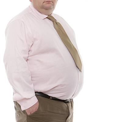 Button Down Shirt Photograph - Overweight Man by