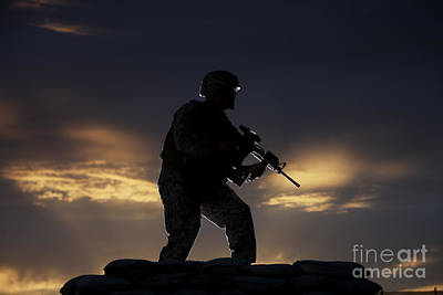Partially Silhouetted U.s. Marine Art Print by Terry Moore