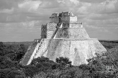 Digital Art - Pyramid Of The Magician At Uxmal Mexico Black And White by Shawn O'Brien