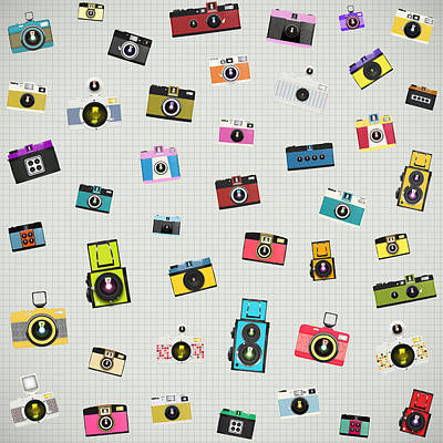 Photograph - Retro Camera Pattern by Setsiri Silapasuwanchai