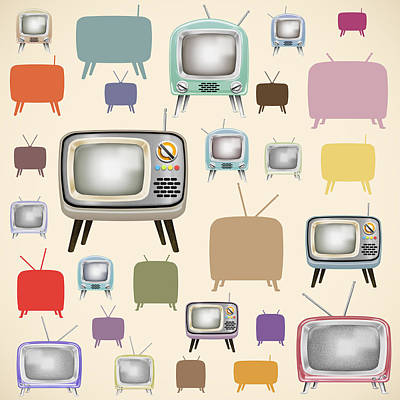 Remote Digital Art - retro TV pattern  by Setsiri Silapasuwanchai