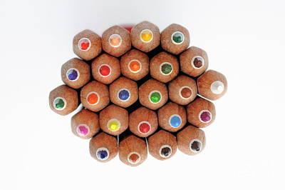 Row Of Colorful Crayons Art Print by Sami Sarkis