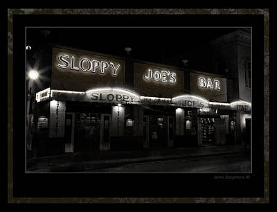 Photograph - Sloppy Joes Bar After Dark Key West by John Stephens