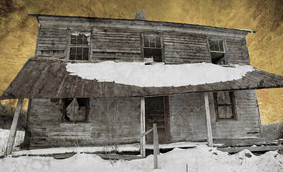 Snowy Abandoned Homestead Porch Art Print by John Stephens