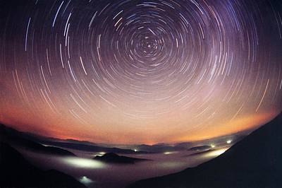 Startrails Photograph - Star Trails by Laurent Laveder