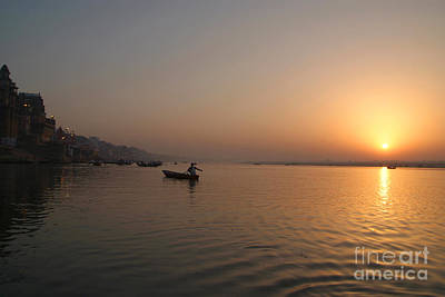 Cremation Ghat Photograph - Sunrise On The Ganges by Serena Bowles