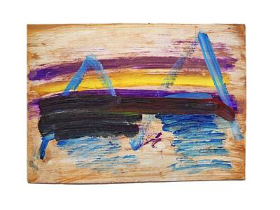 Cardboard Painting - Tsunami by Charles Stuart