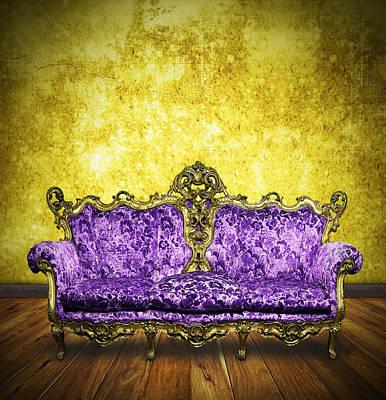 Empty Chairs Photograph - Victorian Sofa In Retro Room by Setsiri Silapasuwanchai