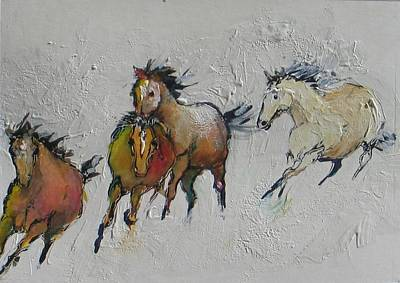 4 Wild Horses Painted Art Print