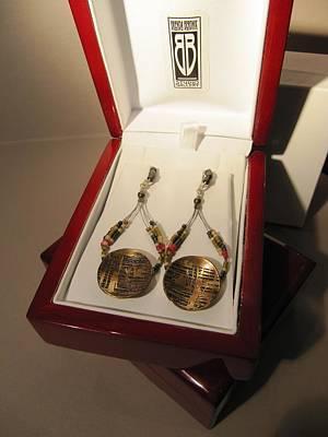 Delica Beads Jewelry - 404 Brass Etching Delica Earrings by Brenda Berdnik