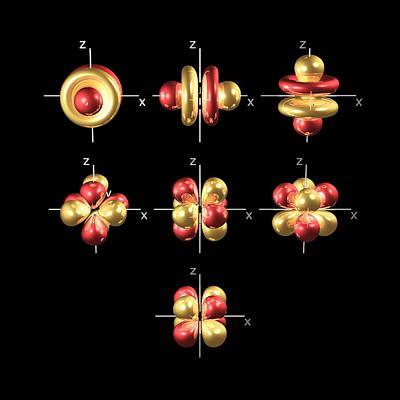 4f Electron Orbitals, Cubic Set Art Print by Dr Mark J. Winter
